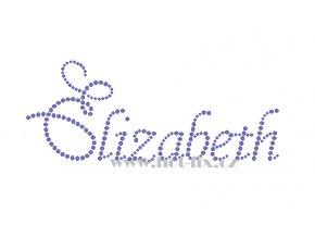 Elizabeth jméno nažehlovací potisk nažehlovací kamínkový aplikace na textil hot fix kameny