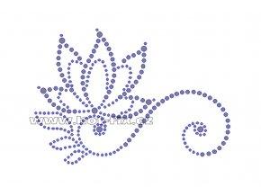 K027 - abstraktní květina nažehlovací potisk z hot-fix kamenů, rozměry cca 13,4x9,3cm