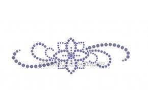 K031 - květinový motiv nažehlovací potisk z hot-fix kamenů, rozměry cca 15,2x4,7cm