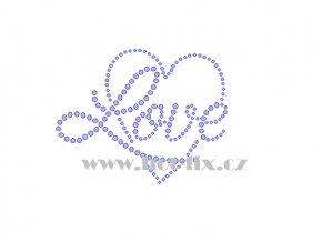 SB045 srdce love hot fix nažehlovací kamínková aplikace na triko, textil hot fix kameny