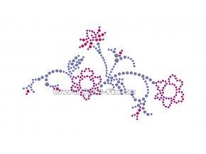 K032 - květy nažehlovací potisk z hot-fix kamínků, rozměry cca 16,6x9,7cm