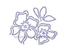 K036 - květy nažehlovací potisk z hot-fix kamenů, rozměry cca 13,5x11,0cm