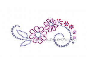 K039-L - květinový motiv nažehlovací aplikace na textil z hot-fix kamínků, rozměry cca 13,8x6,2cm