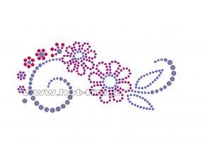 K039-P - květinový motiv nažehlovací aplikace na textil z hot-fix kamínků, rozměry cca 13,8x6,2cm