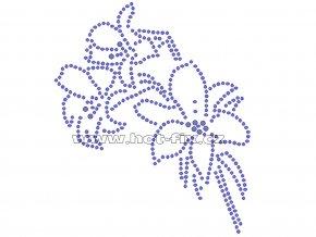 K042 - lilie nažehlovací potisk z hot-fix kamenů, rozměry cca 10,9x12,9cm