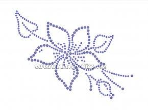 K043-A - květ nažehlovací potisk z hot-fix kamenů, rozměry cca 14,0x10,4cm