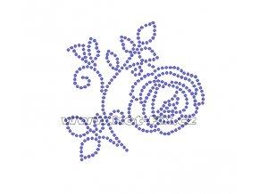 K048-P - růže malá nažehlovací potisk z hot-fix kamenů, rozměry cca 8,9x8,9cm
