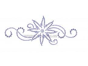 K056 - květinový motiv nažehlovací potisk z hot-fix kamenů, rozměry cca 20,0x8,3cm