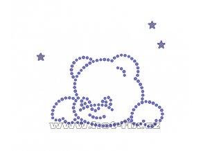 D079 - nažehlovací potisk z hot-fix kamenů medvídek a hvězdy, rozm. cca 8,5x7,2cm