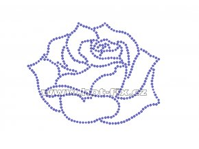 K061 - růže nažehlovací potisk z hot-fix kamenů, rozměry cca 11,5x8,9cm