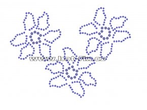 K074 - květy nažehlovací potisk z hot-fix kamenů, rozměry cca 13,9x10,4cm