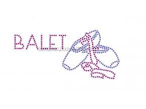 C065-A - baletní špičky nažehlovací potisk na textil z hot-fix kamínků, rozměry cca 14,4x6,8cm