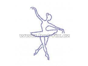 C117 - nažehlovací potisk z hot-fix kamenů baletka, rozm. cca 7,5x11,7cm