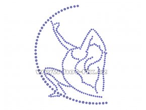 C034 - nažehlovací potisk z hot-fix kamenů gymnastka, rozm. cca 9,4x12,8cm