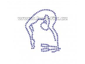 C061 - nažehlovací potisk z hot-fix kamenů gymnastka s kužely, rozm. cca 5,3x6,4cm