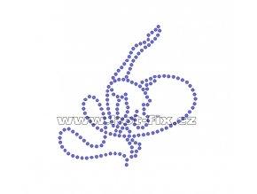 C070 - nažehlovací potisk z hot-fix kamenů gymnastka se stuhou, rozm. cca 7,9x8,0cm