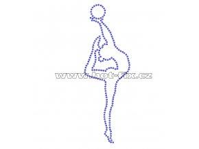C077 - nažehlovací potisk z hot-fix kamenů gymnastka s míčem, rozm. cca 5,3x15,9cm