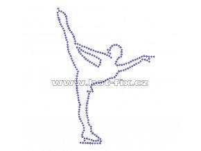 C033 - nažehlovací potisk z hot-fix kamenů krasobruslařka, rozm. cca 10,2x14,2cm