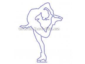 C040 - nažehlovací potisk z hot-fix kamenů krasobruslařka, rozm. cca 11,7x16,2cm