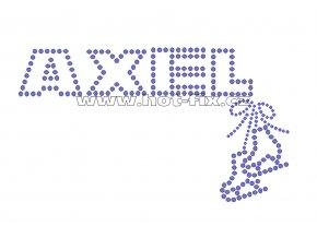 C100-A - nažehlovací potisk z hot-fix kamenů nápis axel, rozm. cca 17,0x9,8cm