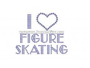 C103-A - nažehlovací potisk z hot-fix kamenů I love figure skating, rozm. cca 9,9x7,8cm