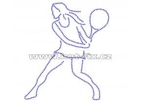 C110 - nažehlovací potisk z hot-fix kamenů tenistka, rozm. cca 15,0x17,5cm