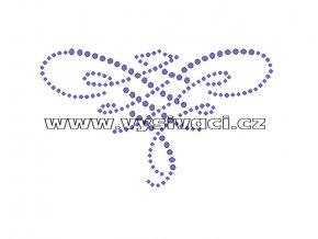 O012 - ornament nažehlovací potisk na textil z hot-fix kamenů, rozměry cca 11,8x7,0cm