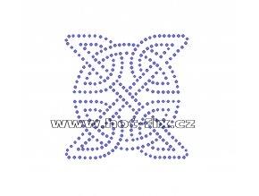 O018 -  ornament celtic nažehlovací potisk na textil hot-fix kameny, rozměry cca 8,1x8,1cm