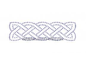 O044 - ornament nažehlovací potisk na textil z hot-fix kamenů, rozměry cca 15,0x4,3cm