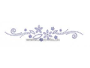 O045 - ornament nažehlovací aplikace na textil z hot-fix kamenů, rozměry cca 19,8x4,2cm