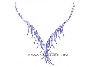 OV010 - výstřih nažehlovací hot-fix kamínková aplikace na textil, rozměry cca 21,4x22,2cm