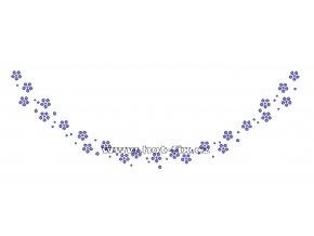 OV014-A  - nažehlovací potisk z hot-fix kamenů výstřih kytky, rozm. cca 24,8x8,4cm