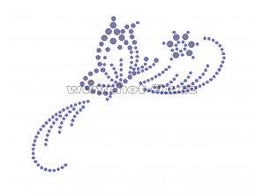 ZM014-P - nažehlovací potisk z hot-fix kamenů motýl, rozm. cca 12,6x10,0cm