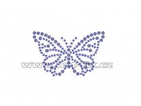 ZM021 - nažehlovací potisk z hot-fix kamenů motýl, rozm. cca 6,7x4,2cm