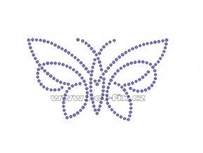 ZM022 - nažehlovací potisk z hot-fix kamenů motýl, rozm. cca 12,6x7,4cm