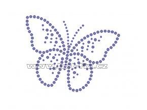 ZM031 - motýl nažehlovací hot-fix kamínková aplikace na textil, rozměry cca 9,9x8,0cm