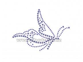 ZM033 - nažehlovací potisk z hot-fix kamenů motýl, rozm. cca 10,9x8,0cm
