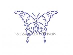 ZM035 - motýl nažehlovací hot-fix kamínkový potisk na textil, rozměry cca 8,7x6,3cm