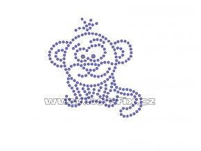 ZO005 - nažehlovací potisk z hot-fix kamenů opička, rozm. cca 6,7x7,1cm