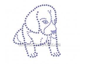 ZP012 - nažehlovací potisk z hot-fix kamenů sedící štěně beagle, rozm. cca 9,6x10,7cm