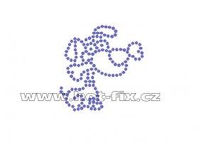 ZP023-B - nažehlovací potisk z hot-fix kamenů pes s kostí, rozm. cca 5,6x5,7cm