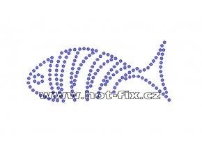 ZR009 - nažehlovací potisk z hot-fix kamenů ryba, rozm. cca 8,7x3,7cm