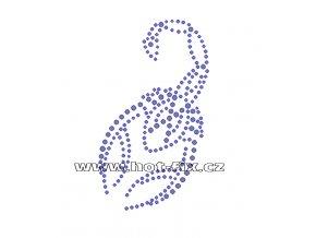 ZL005 - nažehlovací potisk z hot-fix kamenů škorpion, rozm. cca 6,3x10,9cm
