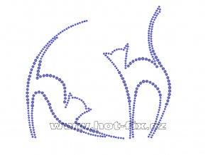 ZA012 - kočky nažehlovací potisk z hot-fix kamenů, rozměry cca 15,0x13,9cm