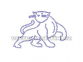 ZA015 - panter hot-fix nažehlovací kamínkový potisk na tričko, textil, cca rozměry 9,8x6,8cm