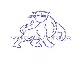 ZA015 - panter nažehlovací hot-fix kamínkový potisk na textil, cca rozměry 9,8x6,8cm