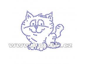 ZA016 - kotě nažehlovací hot-fix kamínková aplikace na textil, rozměry cca 8,2x7,8cm