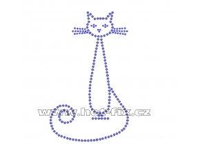 ZA019 - nažehlovací potisk z hot-fix kamenů sedící kočka, rozm. cca 8,5x14,0cm