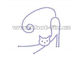ZA020 - nažehlovací potisk z hot-fix kamenů protahující se kočka, rozm. cca 8,9x9,8cm
