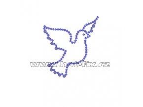 ZE003 - nažehlovací potisk z hot-fix kamenů holubice, rozm. cca 5,3x5,9cm